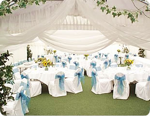 reception with white wedding linen